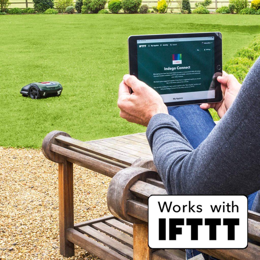 robot tonte Indego de la marque Bosch compatible avec le réseau IFTTT